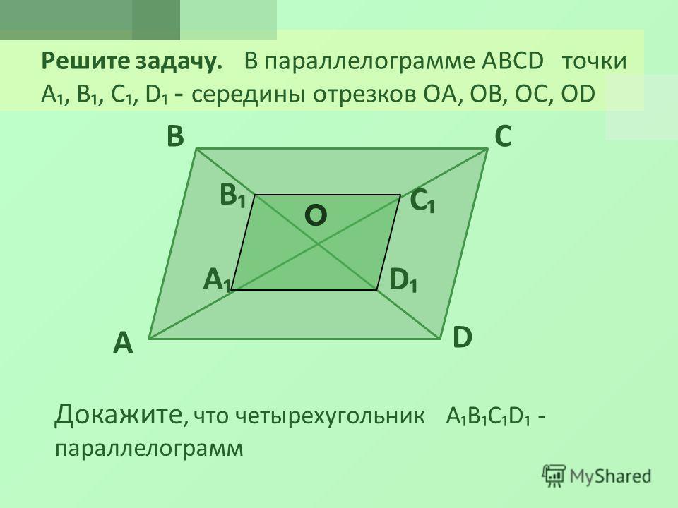 Решите задачу. В параллелограмме ABCD точки A, B, C, D - середины отрезков OA, OB, OC, OD A BC D Докажите, что четырехугольник ABCD - параллелограмм O A B C D