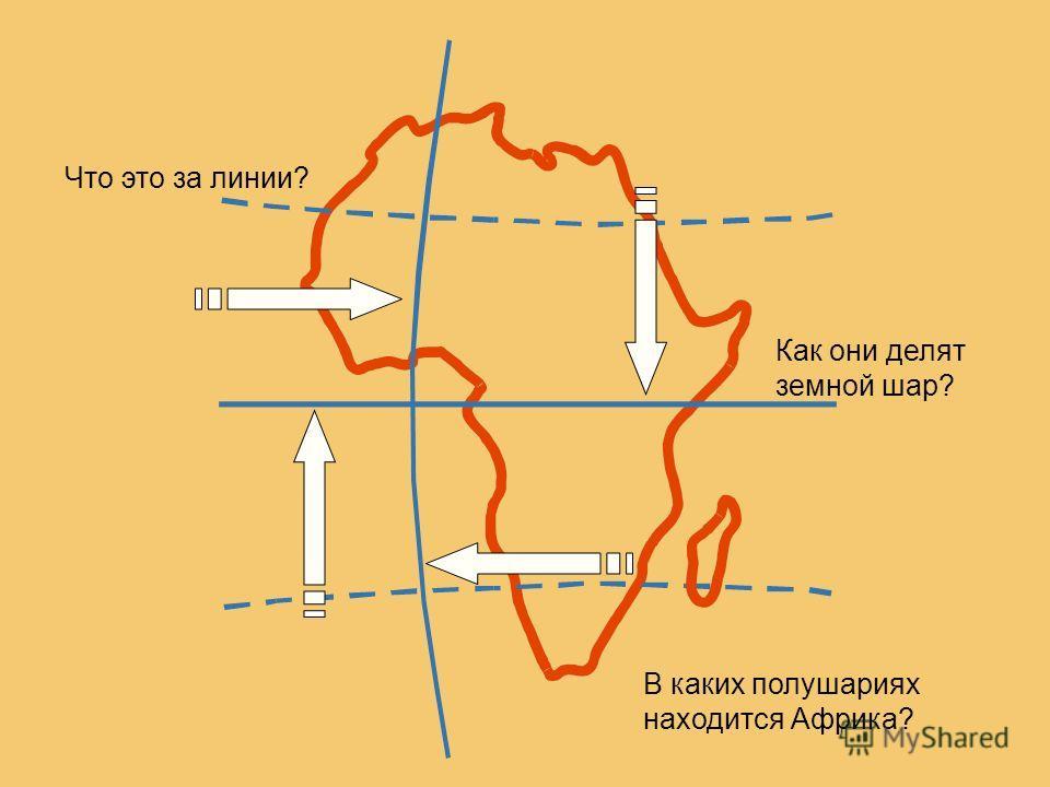 Что это за линии? Как они делят земной шар? В каких полушариях находится Африка?
