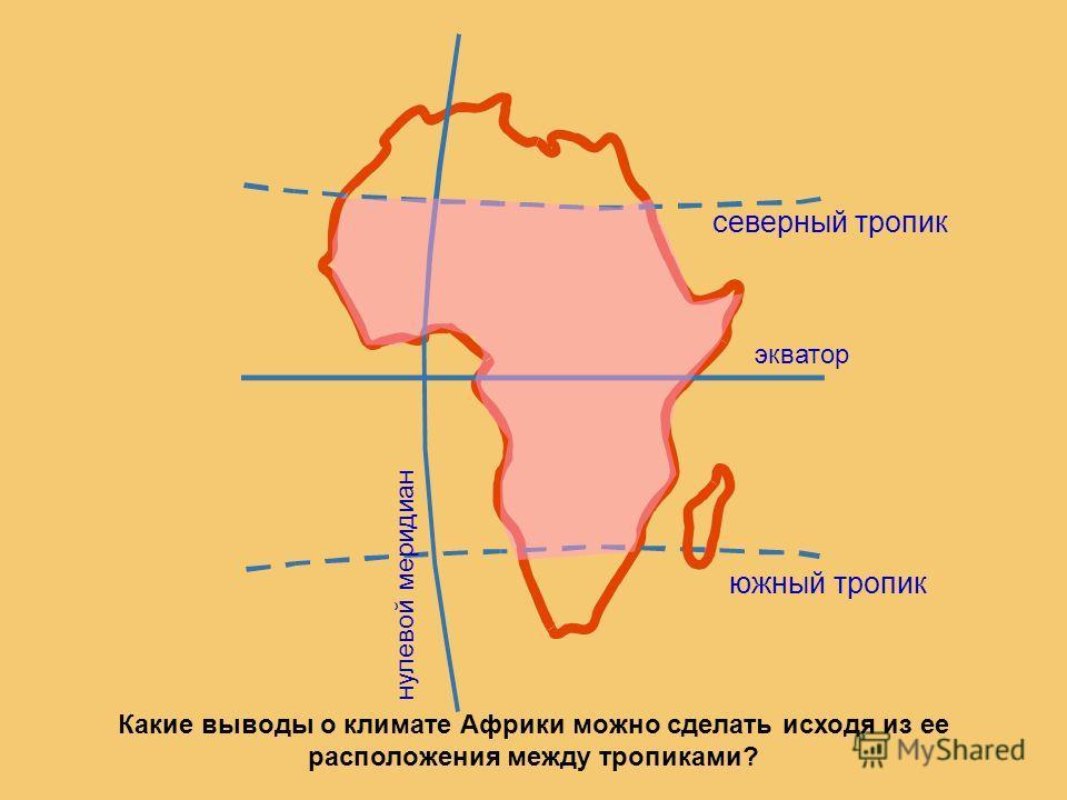 экватор нулевой меридиан северный тропик южный тропик Какие выводы о климате Африки можно сделать исходя из ее расположения между тропиками?