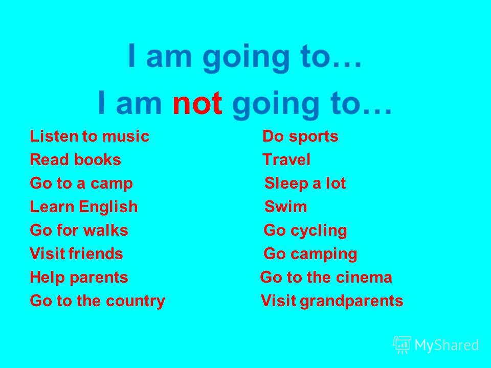 I am going to… I am not going to… Listen to music Do sports Read books Travel Go to a camp Sleep a lot Learn English Swim Go for walks Go cycling Visit friends Go camping Help parents Go to the cinema Go to the country Visit grandparents