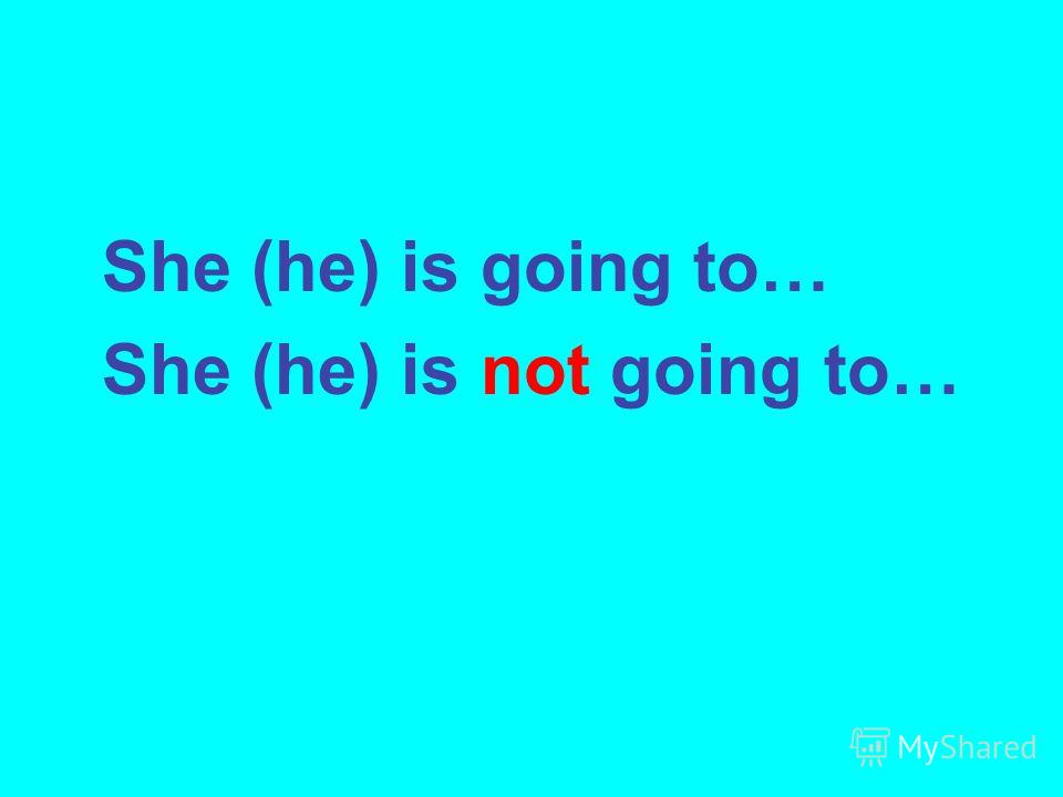 She (he) is going to… She (he) is not going to…