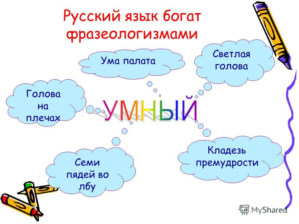Русский язык богат фразеологизмами Светлая голова Кладезь премудрости Семи пядей во лбу Ума палата Голова на плечах