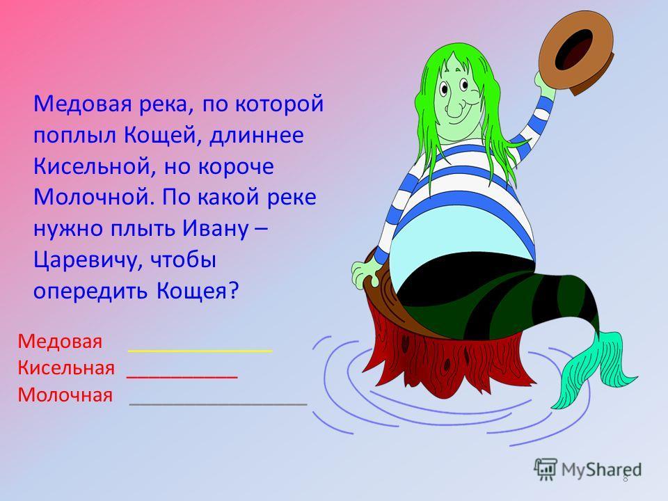 Медовая река, по которой поплыл Кощей, длиннее Кисельной, но короче Молочной. По какой реке нужно плыть Ивану – Царевичу, чтобы опередить Кощея? 8 Медовая _____________ Кисельная __________ Молочная ________________