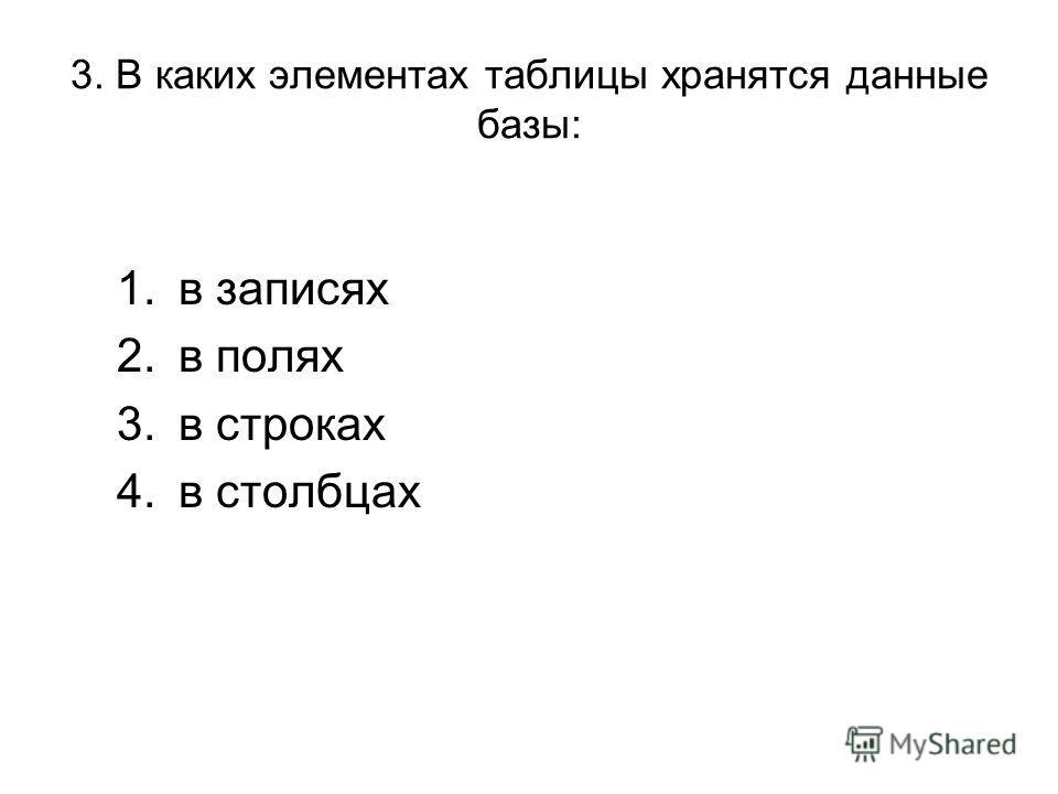 3. В каких элементах таблицы хранятся данные базы: 1.в записях 2.в полях 3.в строках 4.в столбцах