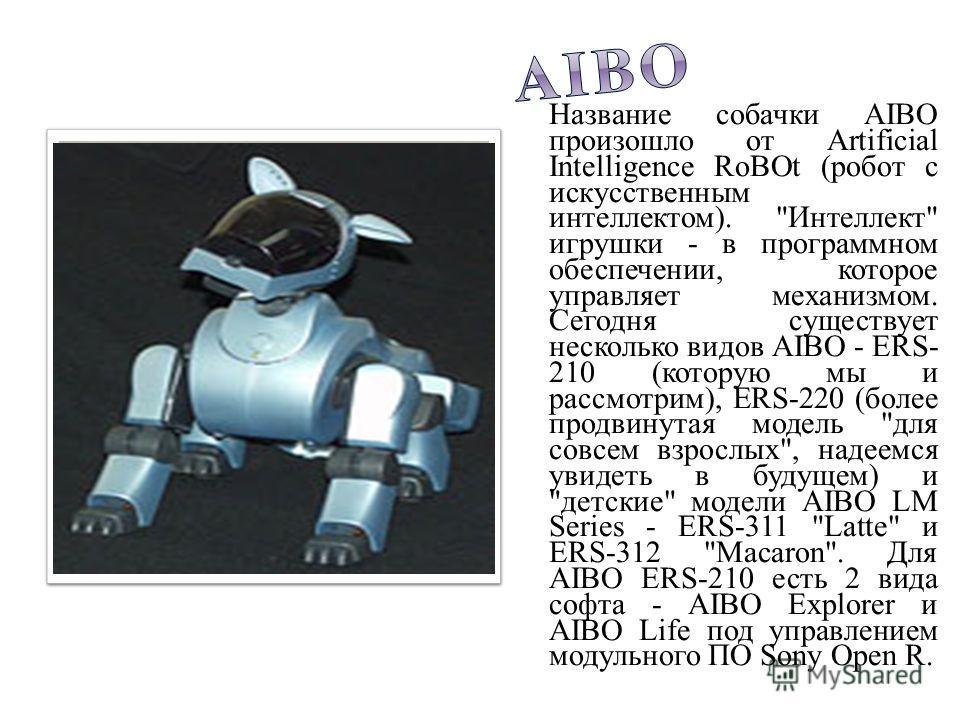 Название собачки AIBO произошло от Artificial Intelligence RoBOt (робот с искусственным интеллектом).
