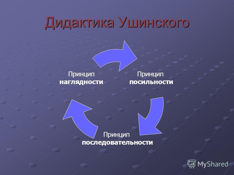 Дидактика Ушинского Принцип посильности Принцип последовательности Принцип наглядности