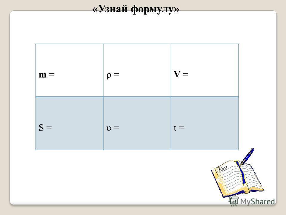 m = = V = S = = t = «Узнай формулу»