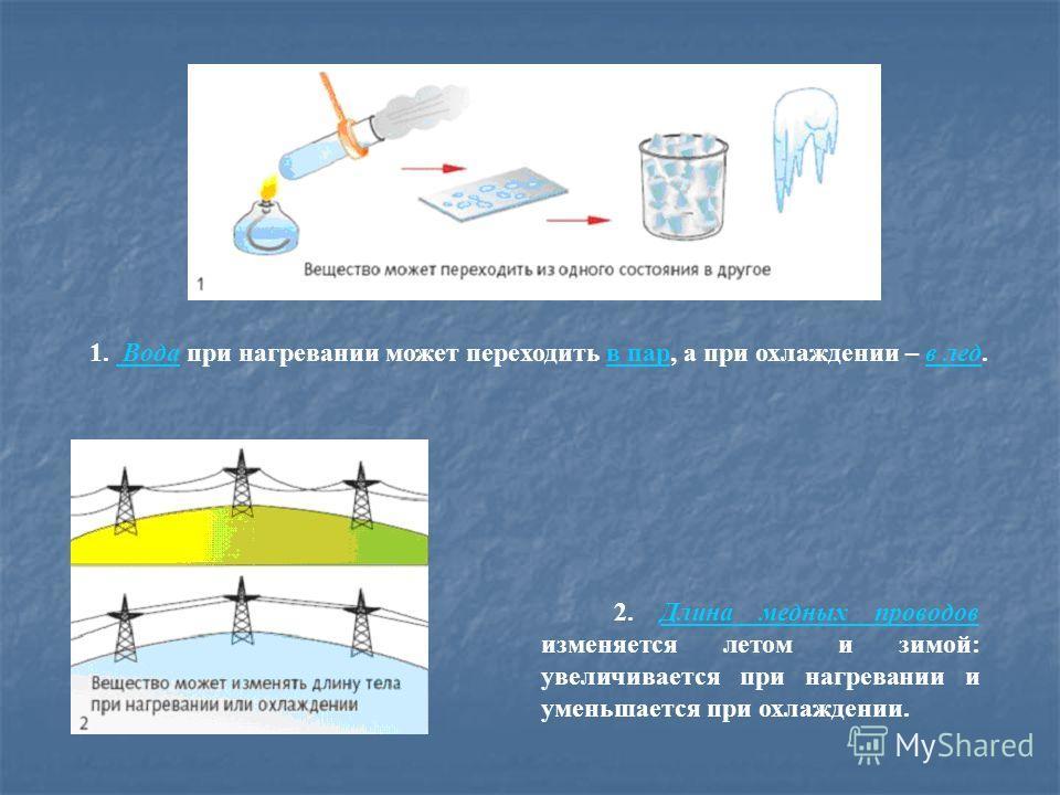 1. Вода при нагревании может переходить в пар, а при охлаждении – в лед.в лед 2. Длина медных проводов изменяется летом и зимой: увеличивается при нагревании и уменьшается при охлаждении.Длина медных проводов