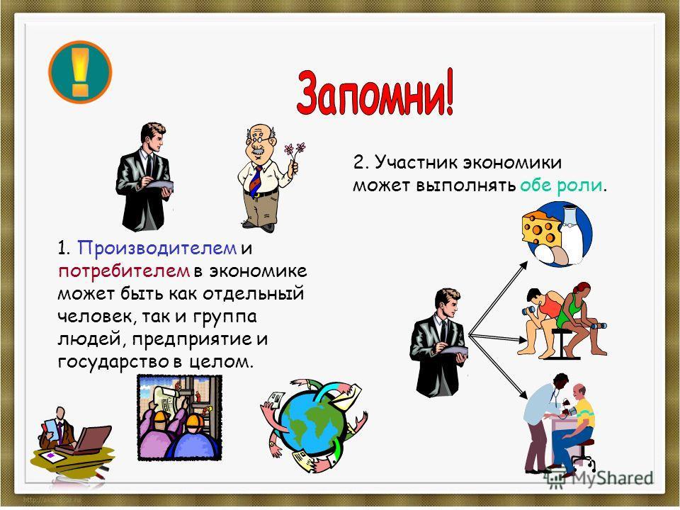 1. Производителем и потребителем в экономике может быть как отдельный человек, так и группа людей, предприятие и государство в целом. 2. Участник экономики может выполнять обе роли.