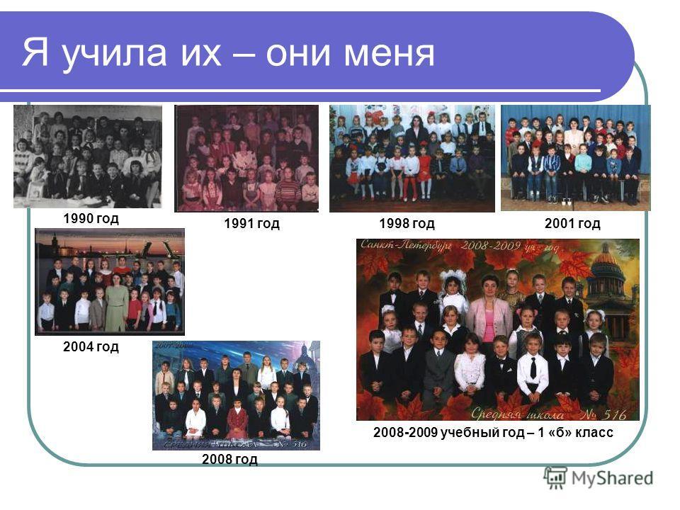 Я учила их – они меня 1990 год 1991 год1998 год2001 год 2004 год 2008 год 2008-2009 учебный год – 1 «б» класс