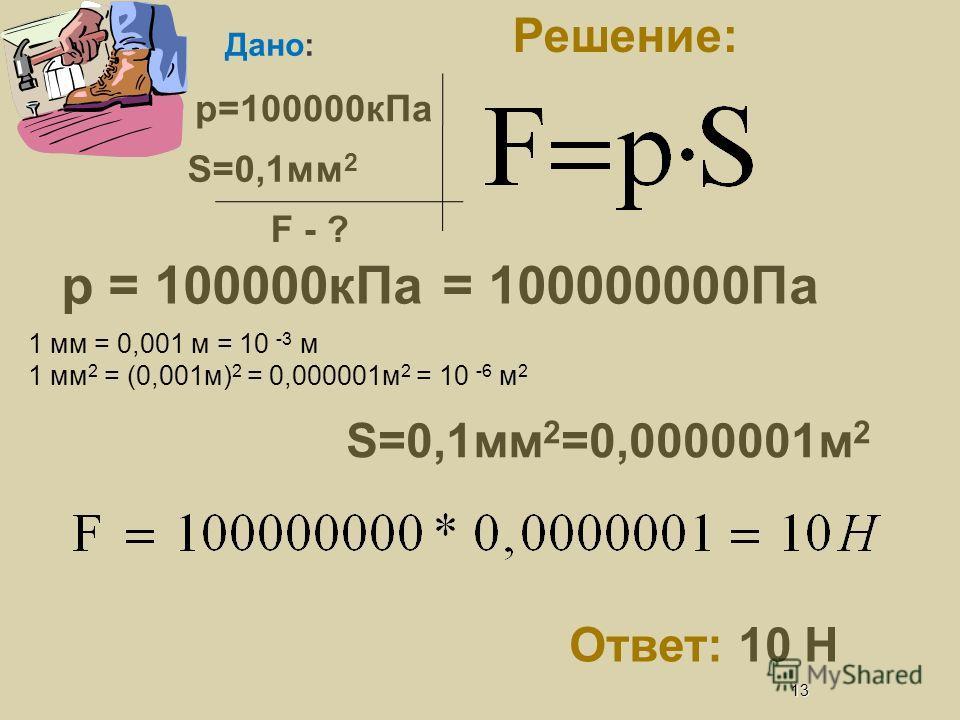 12 F = F т = gm = 9,8*45 Задача Решение: Дано: m=45кг S=30см 2 -? 450Н =150000 Па = 150 кПа Ответ: 150 кПа FтFт 1 см = 0,01 м = 10 -2 м 1 см 2 = (0,01м) 2 = 0,0001м 2 = 10 -4 м 2 S=30см 2 =0,003м 2