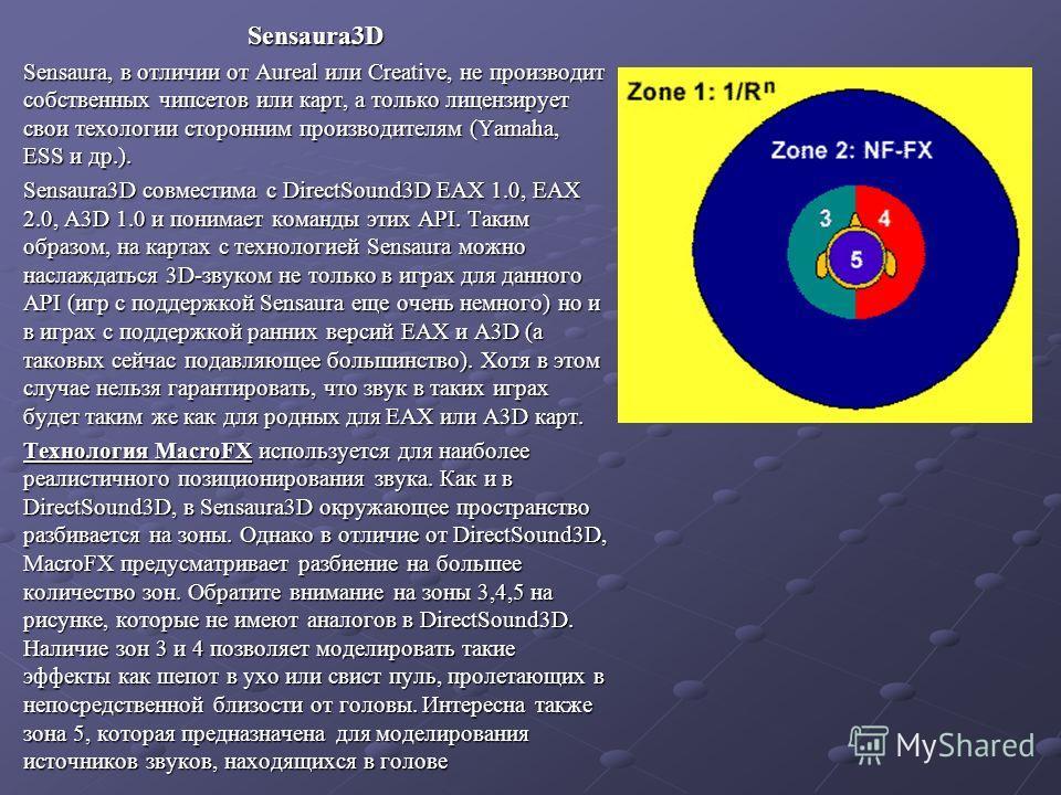 Sensaura3D Sensaura, в отличии от Aureal или Creative, не производит собственных чипсетов или карт, а только лицензирует свои техологии сторонним производителям (Yamaha, ESS и др.). Sensaura3D совместима с DirectSound3D EAX 1.0, EAX 2.0, A3D 1.0 и по