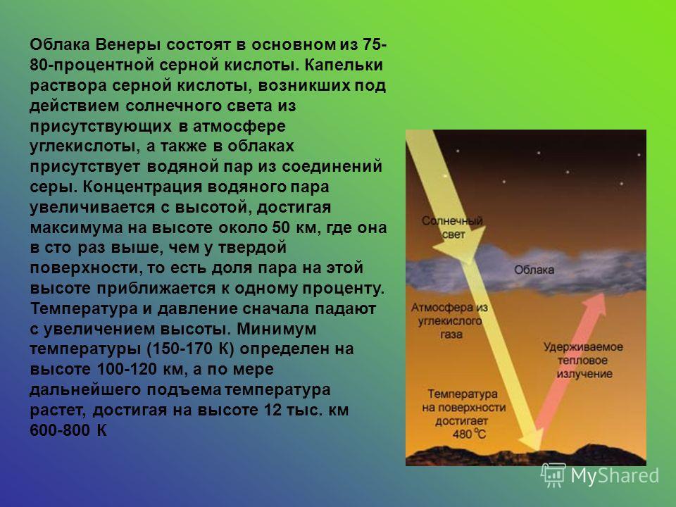 Облака Венеры состоят в основном из 75- 80-процентной серной кислоты. Капельки раствора серной кислоты, возникших под действием солнечного света из присутствующих в атмосфере углекислоты, а также в облаках присутствует водяной пар из соединений серы.