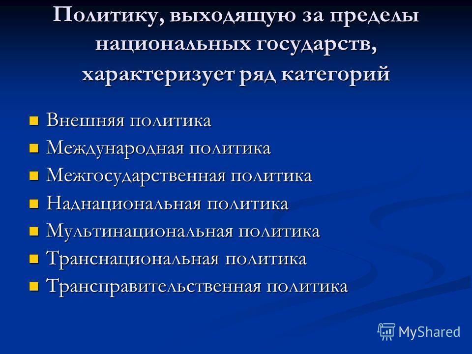 Политику, выходящую за пределы национальных государств, характеризует ряд категорий Внешняя политика Внешняя политика Международная политика Международная политика Межгосударственная политика Межгосударственная политика Наднациональная политика Надна