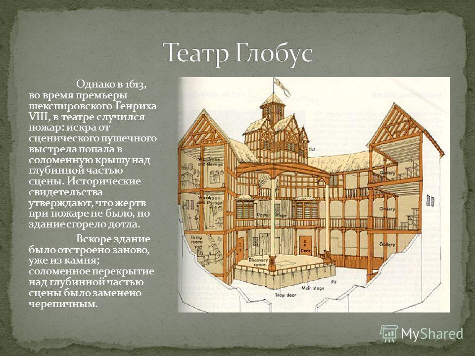 Однако в 1613, во время премьеры шекспировского Генриха VIII, в театре случился пожар: искра от сценического пушечного выстрела попала в соломенную крышу над глубинной частью сцены. Исторические свидетельства утверждают, что жертв при пожаре не было,