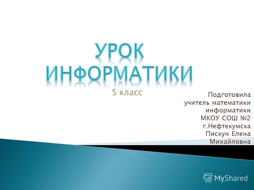 Подготовила учитель математики информатики МКОУ СОШ 2 г.Нефтекумска Пискун Елена Михайловна