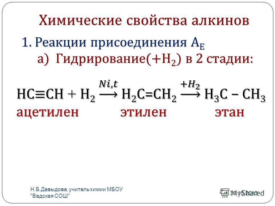 Химические свойства алкинов 1. Реакции присоединения А Е а) Гидрирование(+Н 2 ) в 2 стадии: 30.10.2013 Н. Б. Давыдова, учитель химии МБОУ  Вадская СОШ