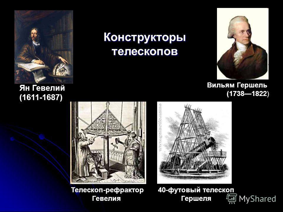 Ян Гевелий (1611-1687) Конструкторы телескопов 40-футовый телескоп Гершеля Телескоп-рефрактор Гевелия Вильям Гершель (17381822)