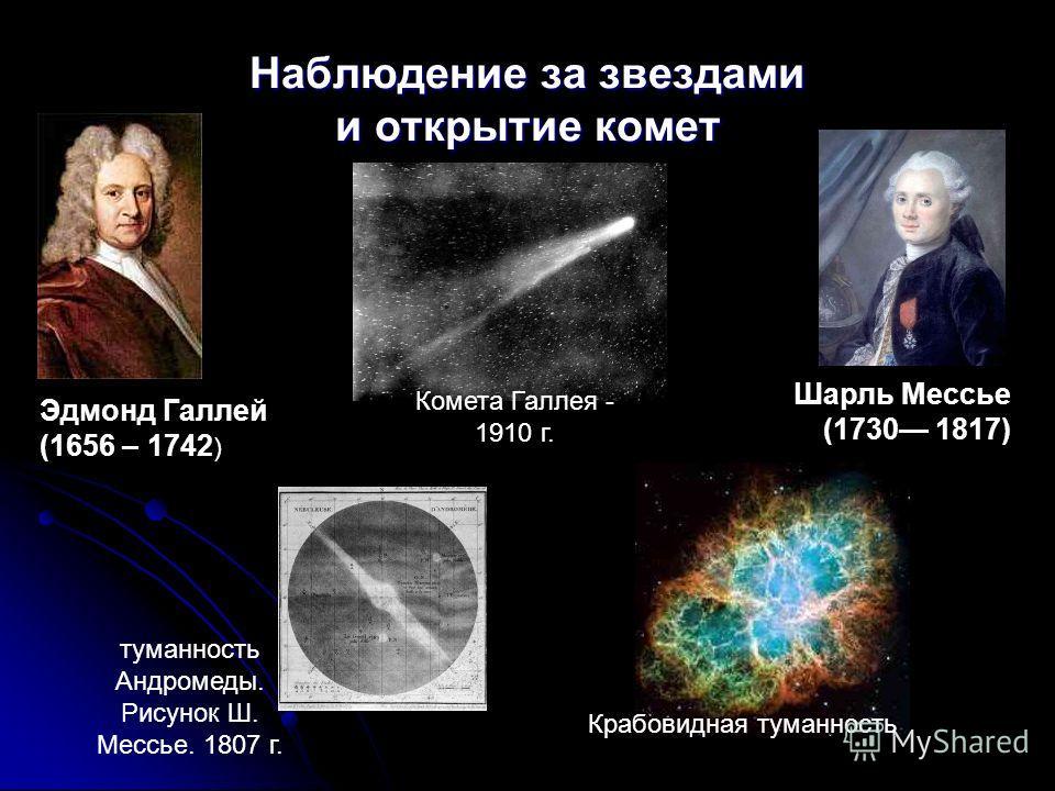 Наблюдение за звездами и открытие комет Шарль Мессье (1730 1817) Эдмонд Галлей (1656 – 1742 ) туманность Андромеды. Рисунок Ш. Мессье. 1807 г. Комета Галлея - 1910 г. Крабовидная туманность