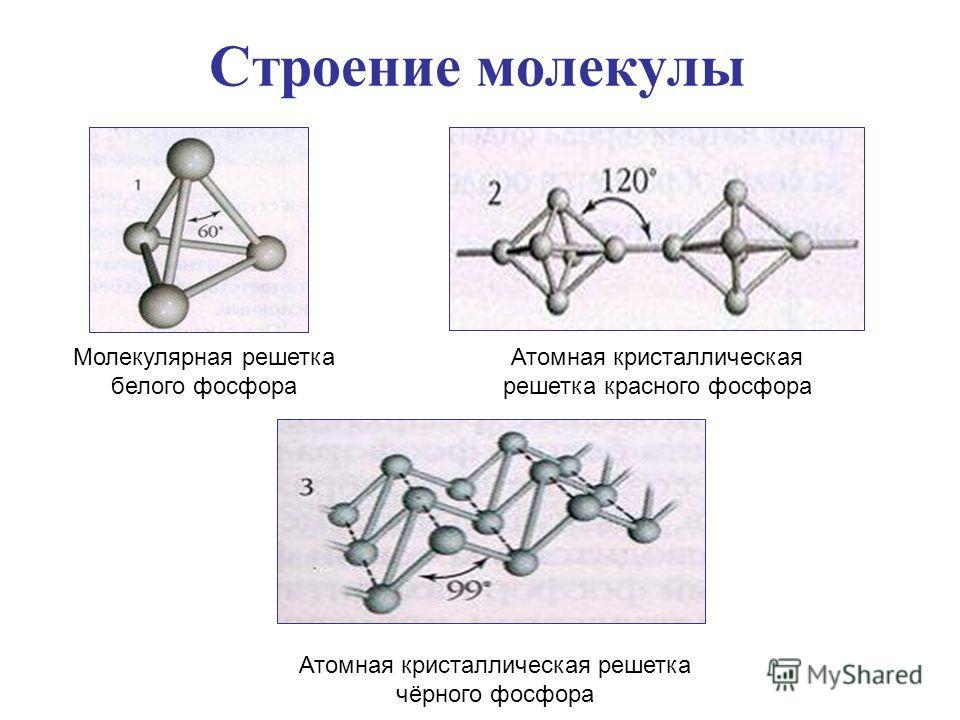 Строение молекулы Молекулярная решетка белого фосфора Атомная кристаллическая решетка красного фосфора Атомная кристаллическая решетка чёрного фосфора