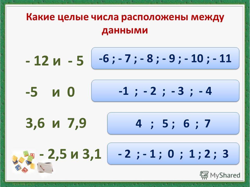 Какие целые числа расположены между данными - 12 и - 5 -5 и 0 3,6 и 7,9 - 2,5 и 3,1 -6 ; - 7 ; - 8 ; - 9 ; - 10 ; - 11 -1 ; - 2 ; - 3 ; - 4 4 ; 5 ; 6 ; 7 - 2 ; - 1 ; 0 ; 1 ; 2 ; 3