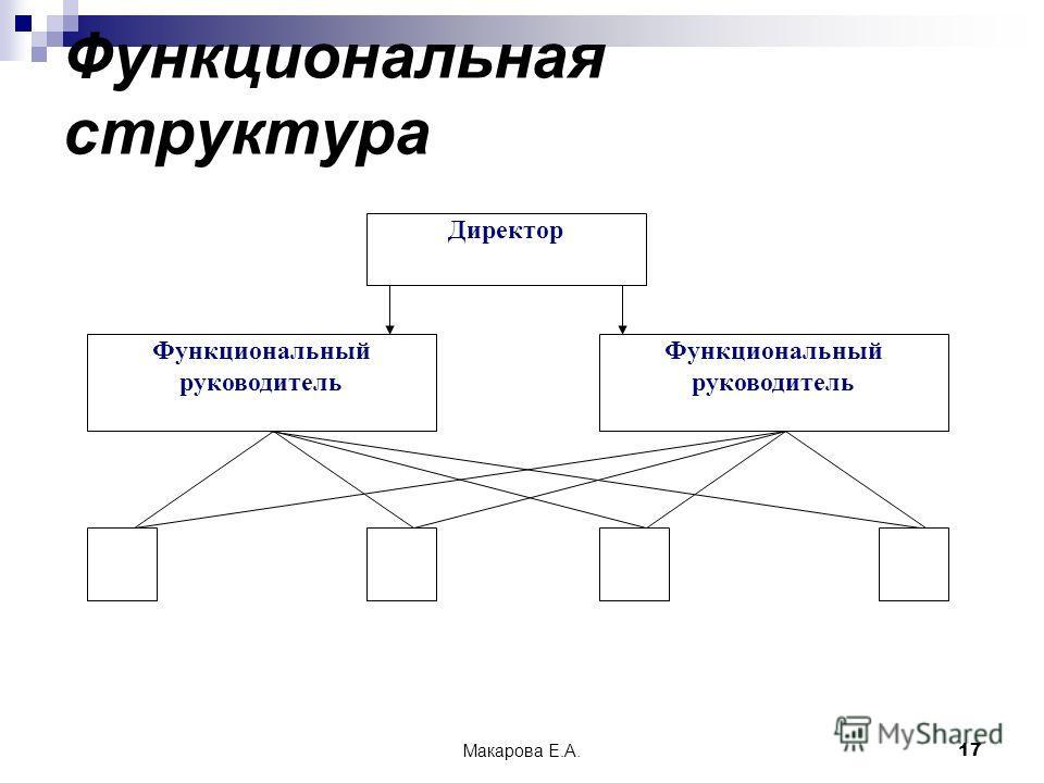 Макарова Е.А.17 Функциональная структура Директор Функциональный руководитель