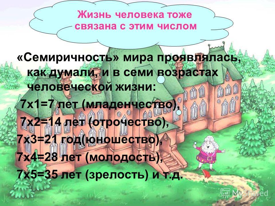 Ариана9 «Семиричность» мира проявлялась, как думали, и в семи возрастах человеческой жизни: 7х1=7 лет (младенчество), 7х2=14 лет (отрочество), 7х3=21 год(юношество), 7х4=28 лет (молодость), 7х5=35 лет (зрелость) и т.д. Жизнь человека тоже связана с э