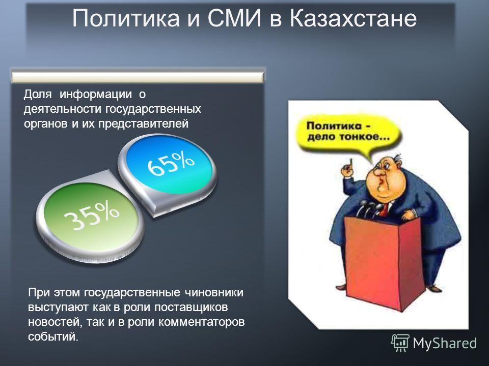 Политика и СМИ в Казахстане 3 Несмотря на то, что большинство СМИ в Казахстане позиционируются как общественно-политические, собственно процессы, связанные с деятельностью политических групп и их лидеров, полноценно освещают единицы. Основная часть м
