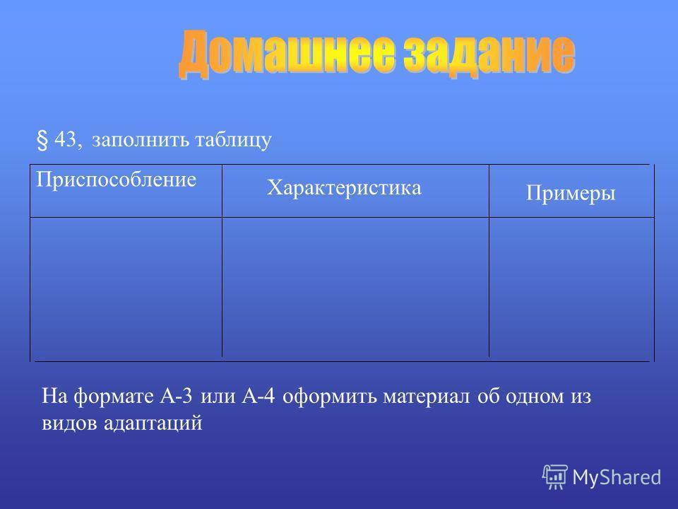 Приспособление Характеристика § 43, заполнить таблицу Примеры На формате А-3 или А-4 оформить материал об одном из видов адаптаций