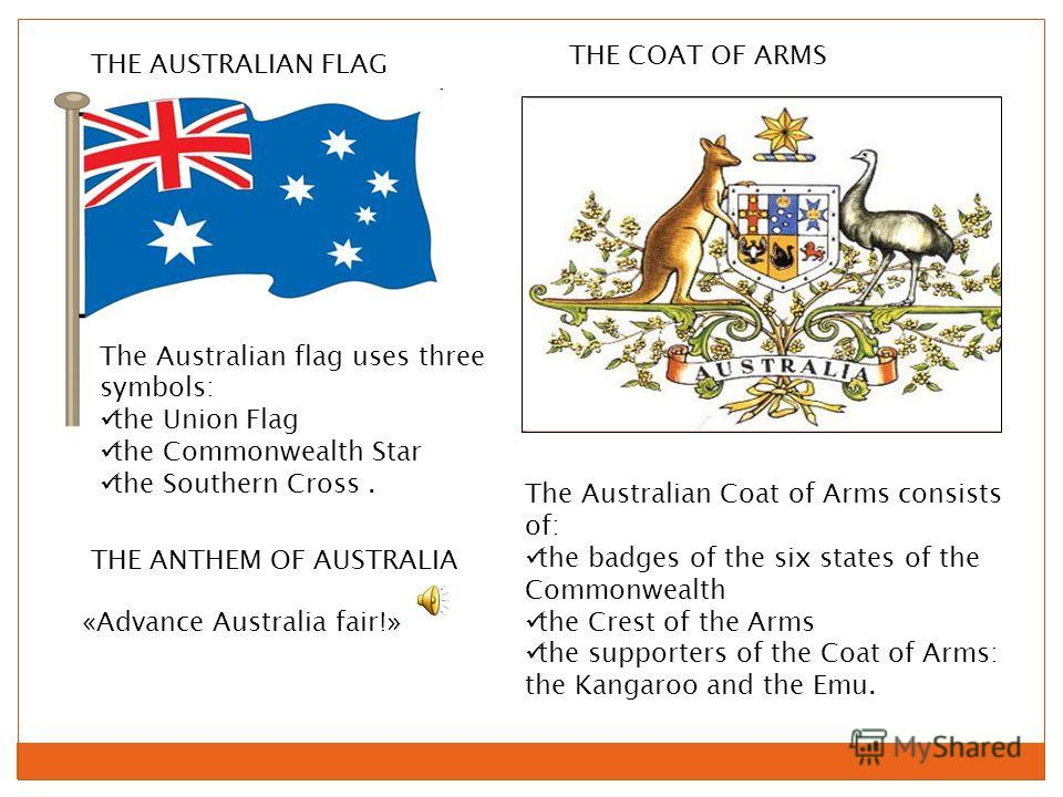 THE AUSTRALIAN FLAG THE COAT OF ARMS «Advance Australia fair!» THE ANTHEM OF AUSTRALIA The Australian flag uses three symbols: the Union Flag the Commonwealth Star the Southern Cross. The Australian Coat of Arms consists of: the badges of the six sta