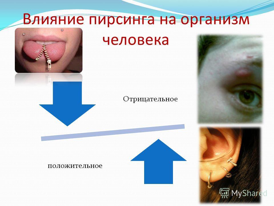 Влияние пирсинга на организм человека Отрицательное положительное