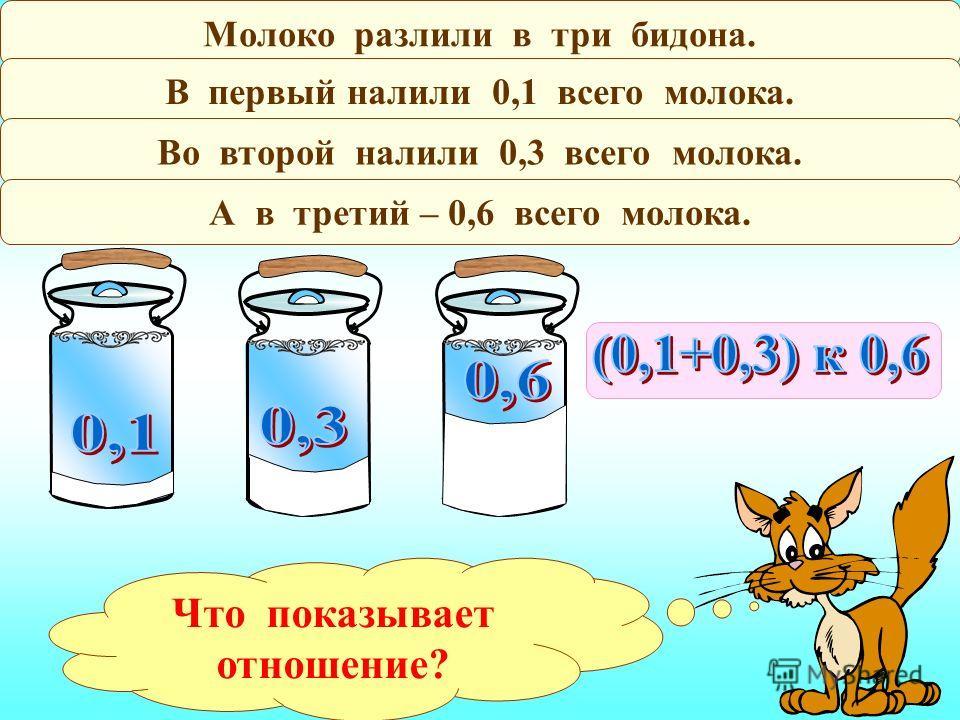 Молоко разлили в три бидона. В первый налили 0,1 всего молока. Во второй налили 0,3 всего молока. А в третий – 0,6 всего молока. Что показывает отношение?