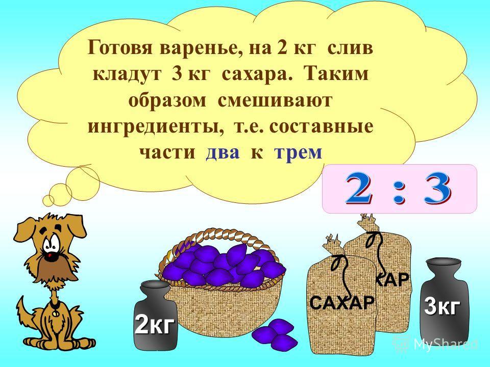 2кг САХАР 3кг Готовя варенье, на 2 кг слив кладут 3 кг сахара. Таким образом смешивают ингредиенты, т.е. составные части два к трем