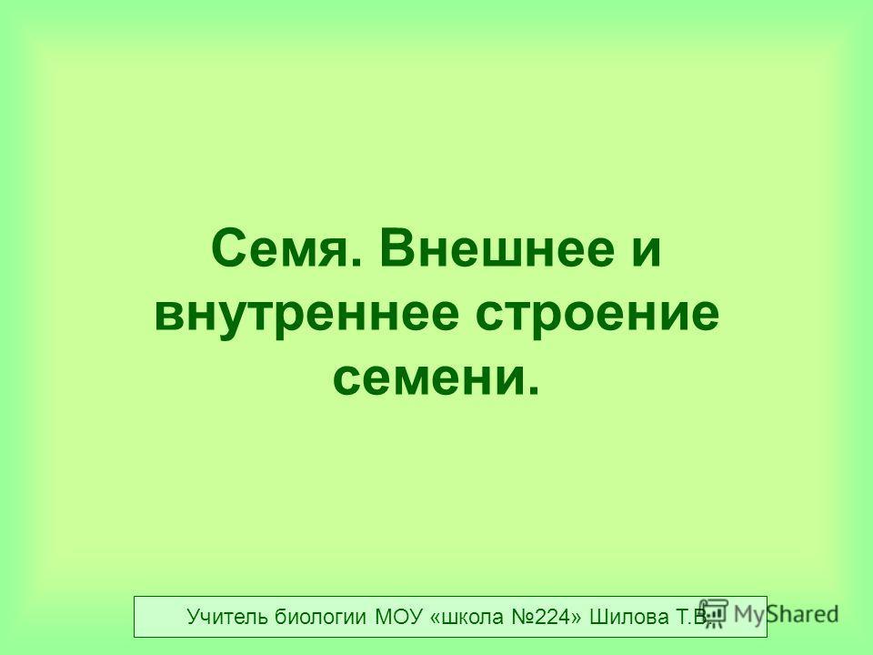 Семя. Внешнее и внутреннее строение семени. Учитель биологии МОУ «школа 224» Шилова Т.В.