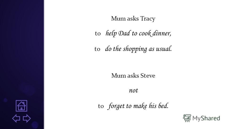 Mum asks Tracy to help Dad to cook dinner, to do the shopping as usual. Mum asks Steve not to forget to make his bed.