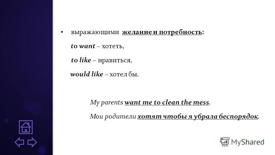 выражающими желание и потребность: to want – хотеть, to like – нравиться, would like – хотел бы. My parents want me to clean the mess. Мои родители хотят чтобы я убрала беспорядок.