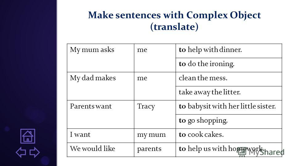 Make sentences with Complex Object (translate) My mum asksmeto help with dinner. to do the ironing. My dad makesmeclean the mess. take away the litter. Parents wantTracyto babysit with her little sister. to go shopping. I wantmy mumto cook cakes. We