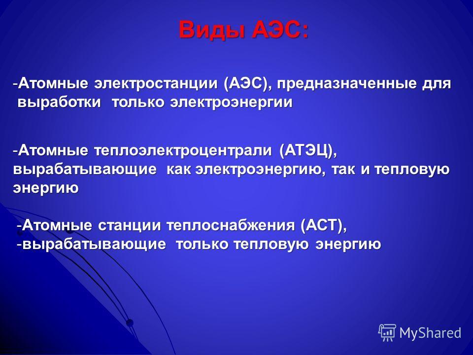 Виды АЭС: -Атомные электростанции (АЭС), предназначенные для выработки только электроэнергии выработки только электроэнергии -Атомные теплоэлектроцентрали (АТЭЦ), вырабатывающие как электроэнергию, так и тепловую энергию -Атомные станции теплоснабжен