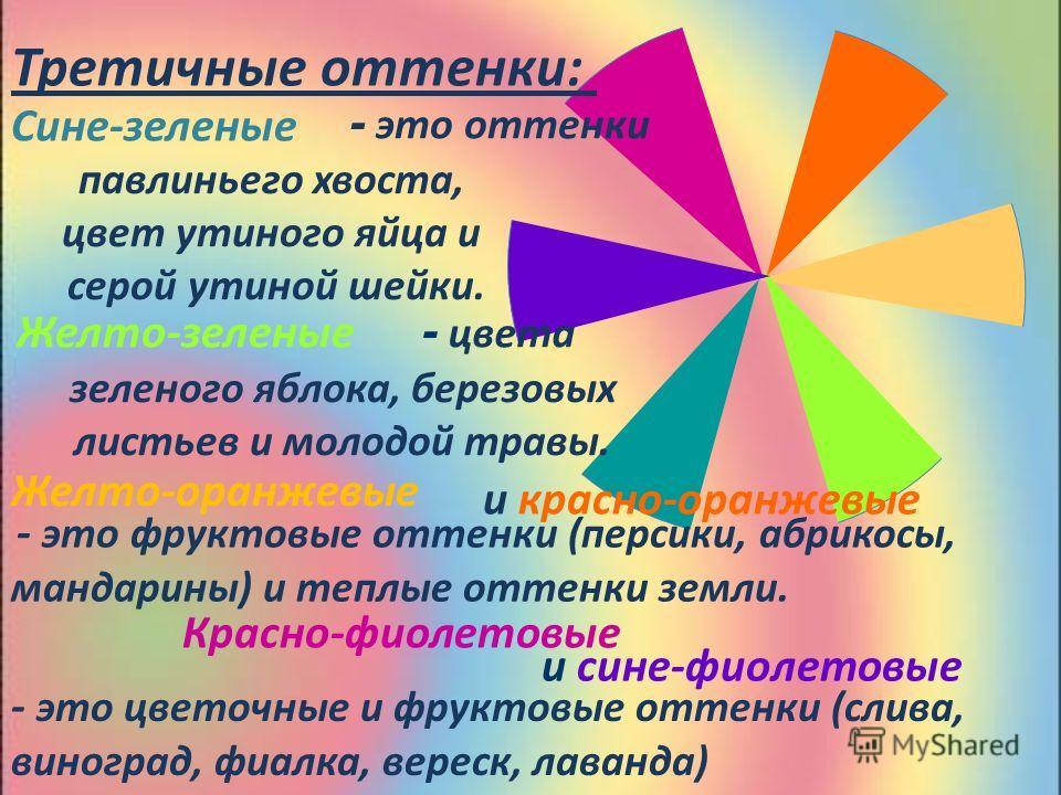 Третичные оттенки: павлиньего хвоста, цвет утиного яйца и серой утиной шейки. зеленого яблока, березовых листьев и молодой травы. Сине-зеленые - это оттенки Желто-зеленые - цвета и красно-оранжевые Желто-оранжевые - это фруктовые оттенки (персики, аб