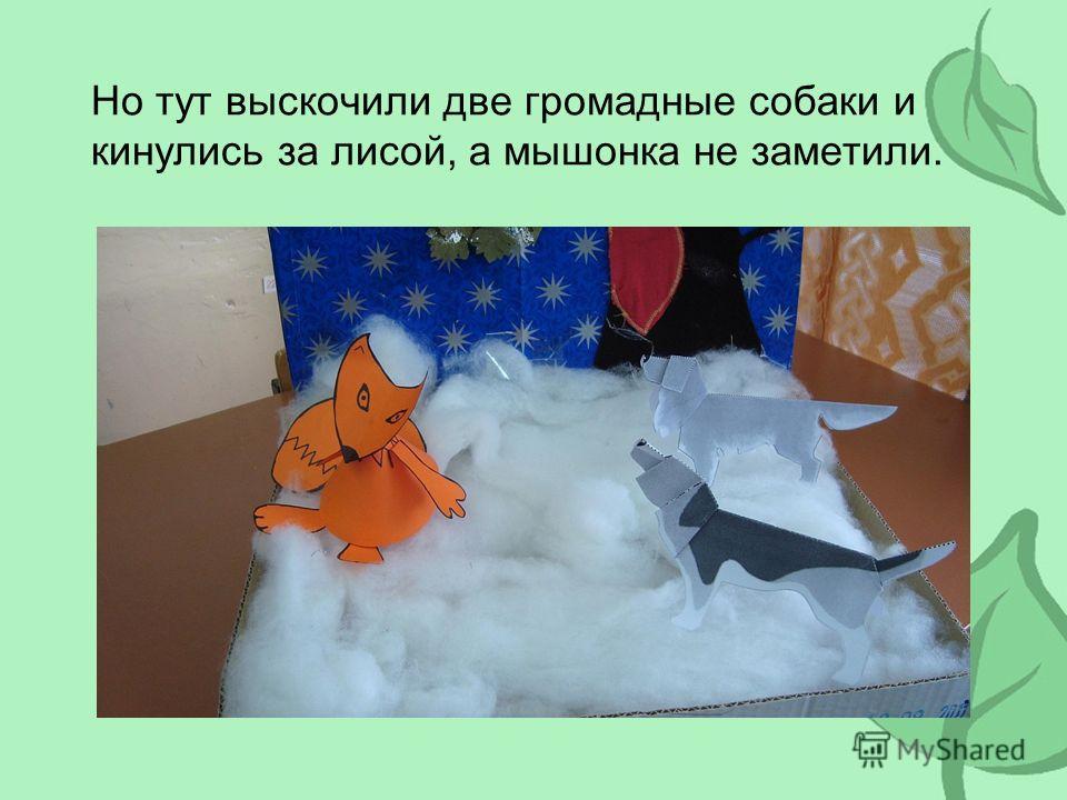 Но тут выскочили две громадные собаки и кинулись за лисой, а мышонка не заметили.