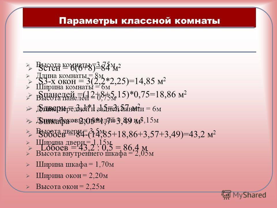 Параметры классной комнаты Высота комнаты =3,75м Длина комнаты = 8м Ширина комнаты = 6м Высота панелей = 0,75м Длина передней и задней панели = 6м Длина боковых панелей = 8м и 5,15м Высота двери = 3,5м Ширина двери = 1,15м Высота внутреннего шкафа =