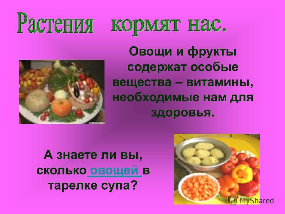 Овощи и фрукты содержат особые вещества – витамины, необходимые нам для здоровья. А знаете ли вы, сколько овощей в тарелке супа? овощей