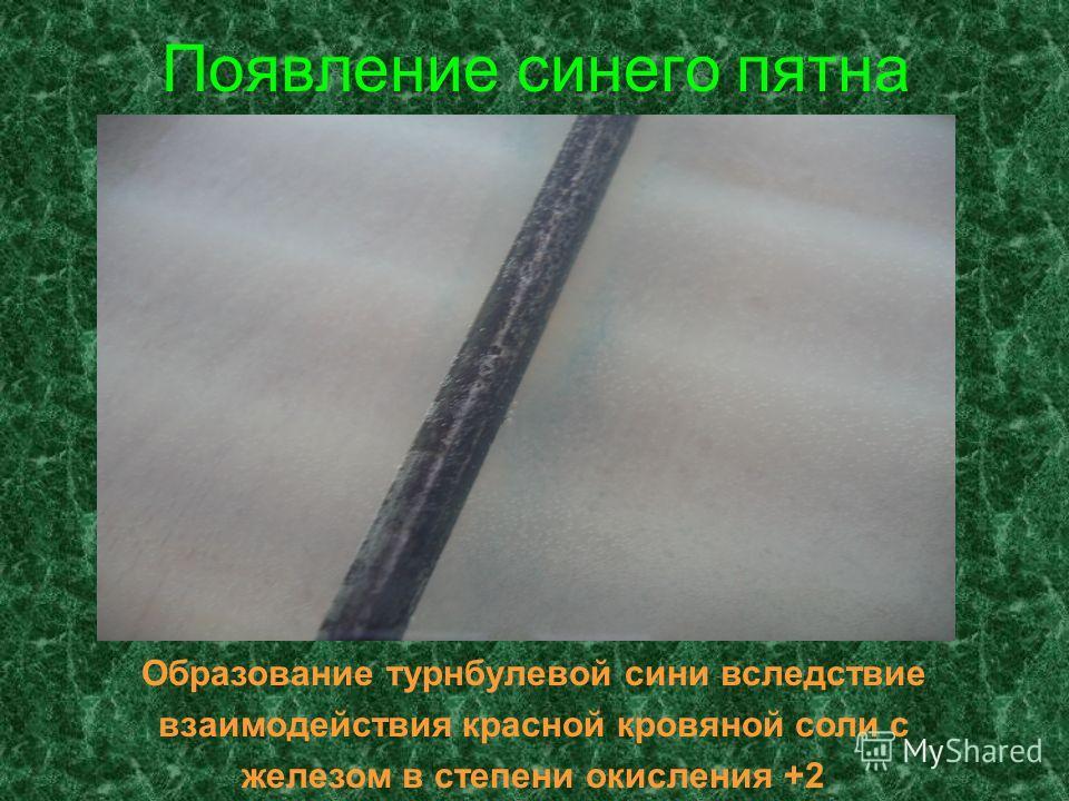Появление синего пятна Образование турнбулевой сини вследствие взаимодействия красной кровяной соли с железом в степени окисления +2