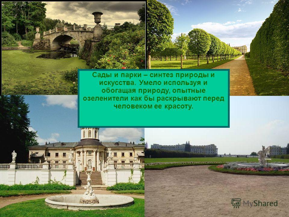 Сады и парки – синтез природы и искусства. Умело используя и обогащая природу, опытные озеленители как бы раскрывают перед человеком ее красоту.