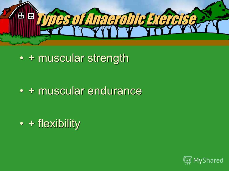 Types of Exercise I. Anaerobic Exercise Oxygen is not used for energy; intense physical activity in which the bodys supple of oxygen to produce energy does not meet demand.