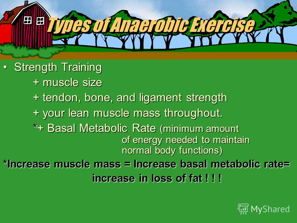 Types of Anaerobic Exercise + muscular strength+ muscular strength + muscular endurance+ muscular endurance + flexibility+ flexibility