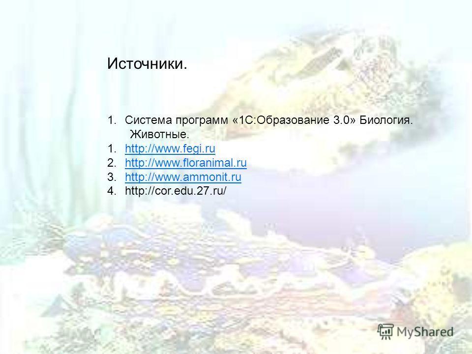 Источники. 1.Система программ «1С:Образование 3.0» Биология. Животные. 1.http://www.fegi.ruhttp://www.fegi.ru 2.http://www.floranimal.ruhttp://www.floranimal.ru 3.http://www.ammonit.ruhttp://www.ammonit.ru 4.http://cor.edu.27.ru/