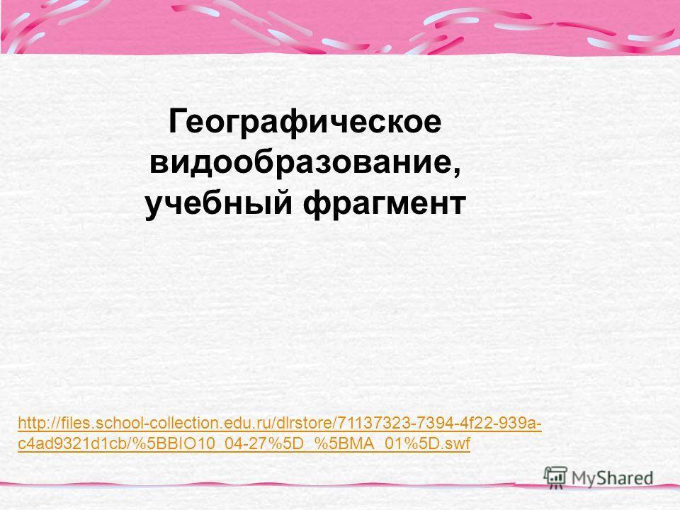 http://files.school-collection.edu.ru/dlrstore/71137323-7394-4f22-939a- c4ad9321d1cb/%5BBIO10_04-27%5D_%5BMA_01%5D.swf Географическое видообразование, учебный фрагмент
