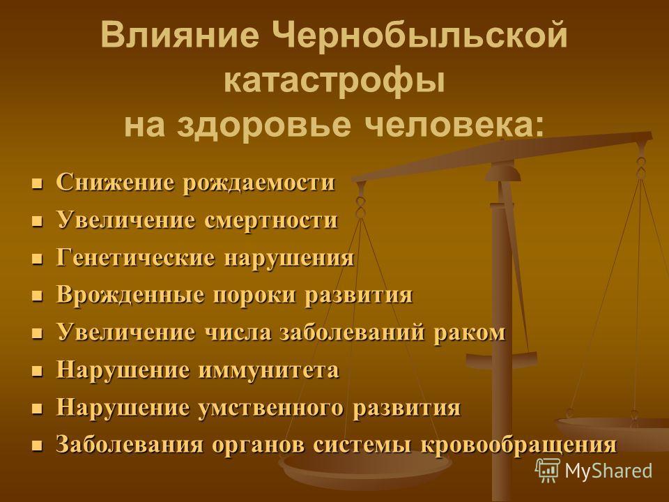 Влияние Чернобыльской катастрофы на здоровье человека: Снижение рождаемости Снижение рождаемости Увеличение смертности Увеличение смертности Генетические нарушения Генетические нарушения Врожденные пороки развития Врожденные пороки развития Увеличени