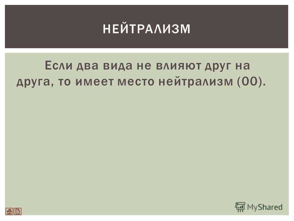 Если два вида не влияют друг на друга, то имеет место нейтрализм (00). НЕЙТРАЛИЗМ
